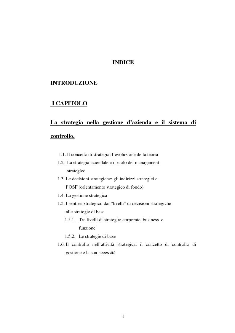 Indice della tesi: Dal controllo di gestione al controllo strategico: il caso Sorin Biomedica SPA, Pagina 1