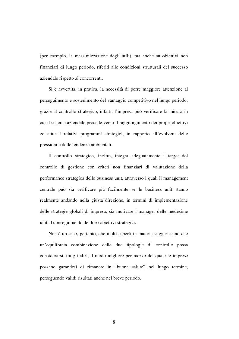 Anteprima della tesi: Dal controllo di gestione al controllo strategico: il caso Sorin Biomedica SPA, Pagina 5