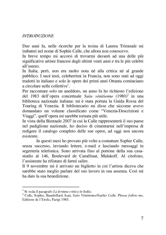 Anteprima della tesi: Sophie Calle. Catalogo ragionato delle opere (1979-2006), Pagina 1