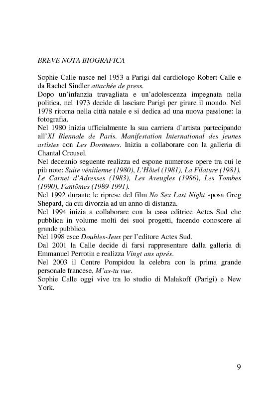 Anteprima della tesi: Sophie Calle. Catalogo ragionato delle opere (1979-2006), Pagina 2