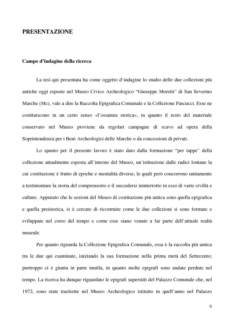 Anteprima della tesi: Raccolta Epigrafica Comunale e Collezione Pascucci: i nuclei storici del Museo Civico Archeologico di San Severino Marche, Pagina 1