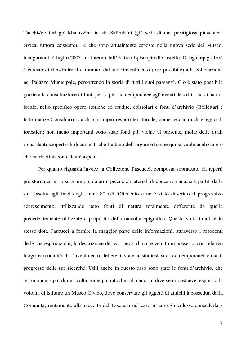Anteprima della tesi: Raccolta Epigrafica Comunale e Collezione Pascucci: i nuclei storici del Museo Civico Archeologico di San Severino Marche, Pagina 2