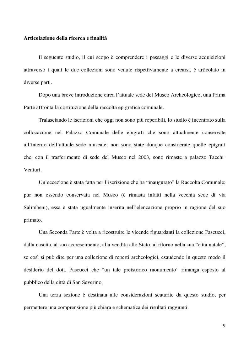 Anteprima della tesi: Raccolta Epigrafica Comunale e Collezione Pascucci: i nuclei storici del Museo Civico Archeologico di San Severino Marche, Pagina 4