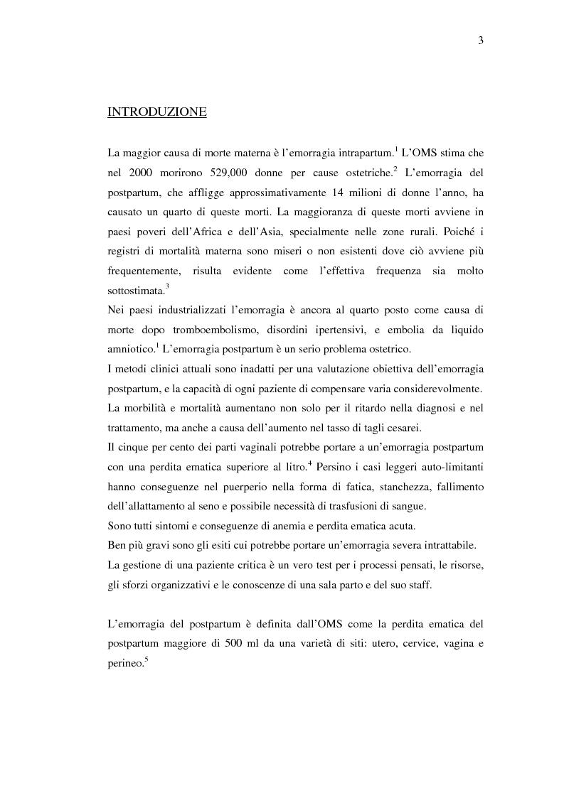 Anteprima della tesi: Nuovi trattamenti dell'atonia postpartum. Studio clinico di 7 pazienti con emorragia severa intrapartum, Pagina 1