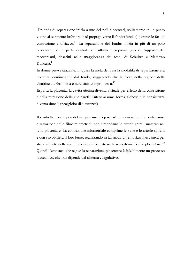 Anteprima della tesi: Nuovi trattamenti dell'atonia postpartum. Studio clinico di 7 pazienti con emorragia severa intrapartum, Pagina 6