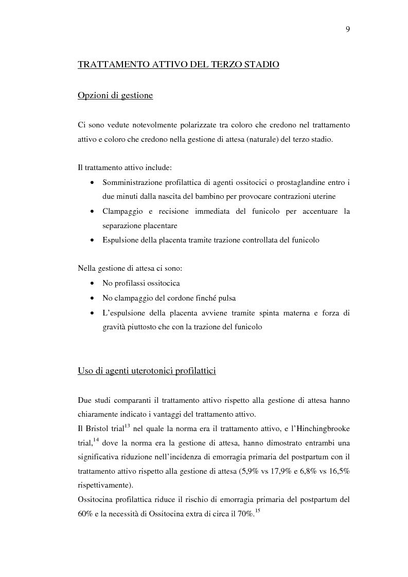 Anteprima della tesi: Nuovi trattamenti dell'atonia postpartum. Studio clinico di 7 pazienti con emorragia severa intrapartum, Pagina 7