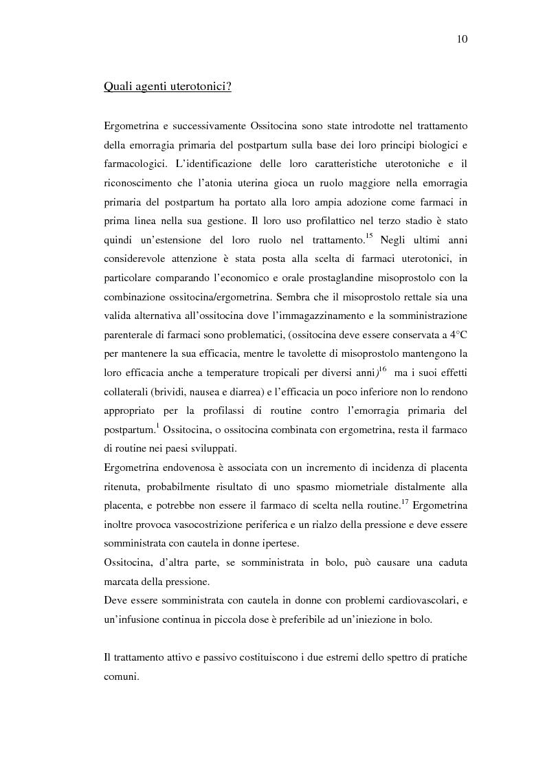 Anteprima della tesi: Nuovi trattamenti dell'atonia postpartum. Studio clinico di 7 pazienti con emorragia severa intrapartum, Pagina 8