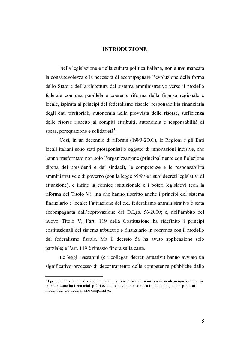 Anteprima della tesi: L'attuazione del federalismo fiscale: il contributo della Corte Costituzionale, Pagina 1