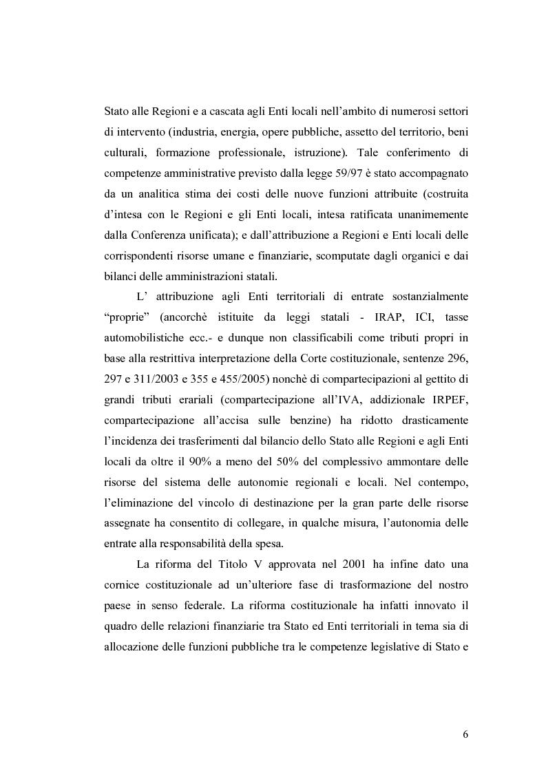 Anteprima della tesi: L'attuazione del federalismo fiscale: il contributo della Corte Costituzionale, Pagina 2