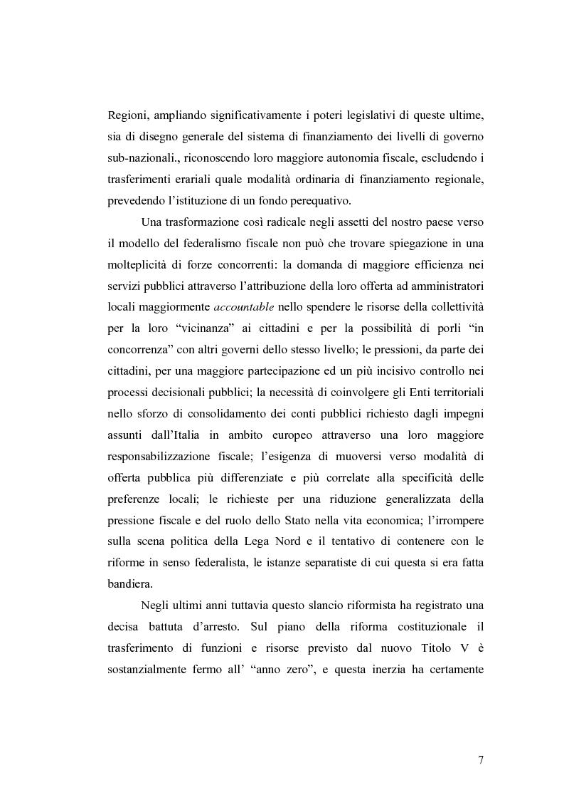Anteprima della tesi: L'attuazione del federalismo fiscale: il contributo della Corte Costituzionale, Pagina 3