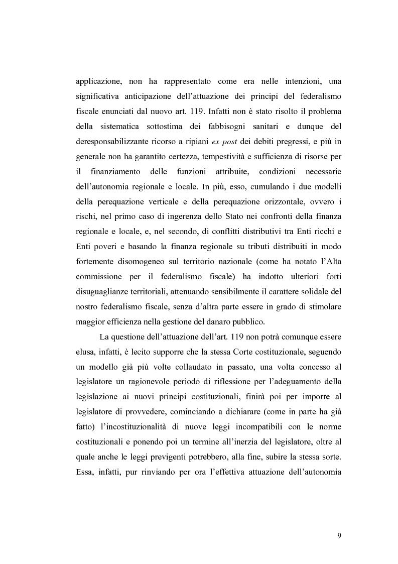 Anteprima della tesi: L'attuazione del federalismo fiscale: il contributo della Corte Costituzionale, Pagina 5