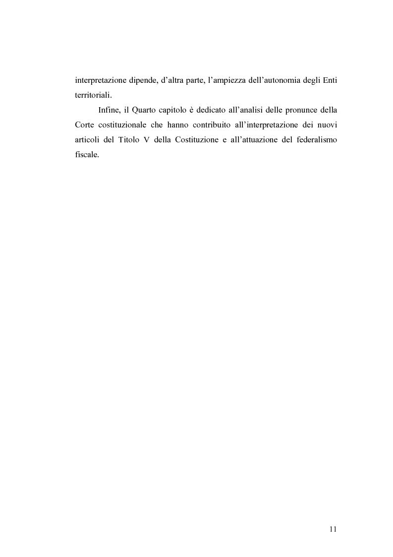 Anteprima della tesi: L'attuazione del federalismo fiscale: il contributo della Corte Costituzionale, Pagina 7