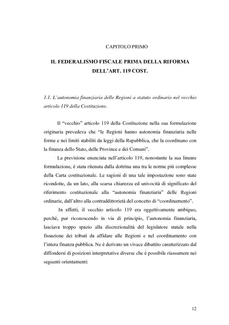 Anteprima della tesi: L'attuazione del federalismo fiscale: il contributo della Corte Costituzionale, Pagina 8