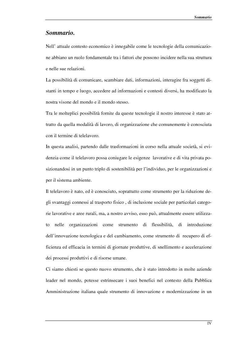 Anteprima della tesi: Nuove prospettive per il telelavoro: analisi dei principali progetti per la pubblica amministrazione, Pagina 1