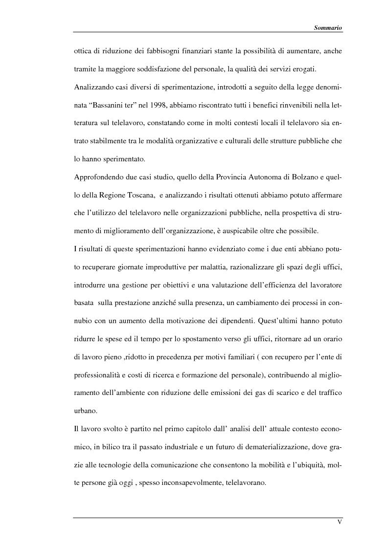 Anteprima della tesi: Nuove prospettive per il telelavoro: analisi dei principali progetti per la pubblica amministrazione, Pagina 2