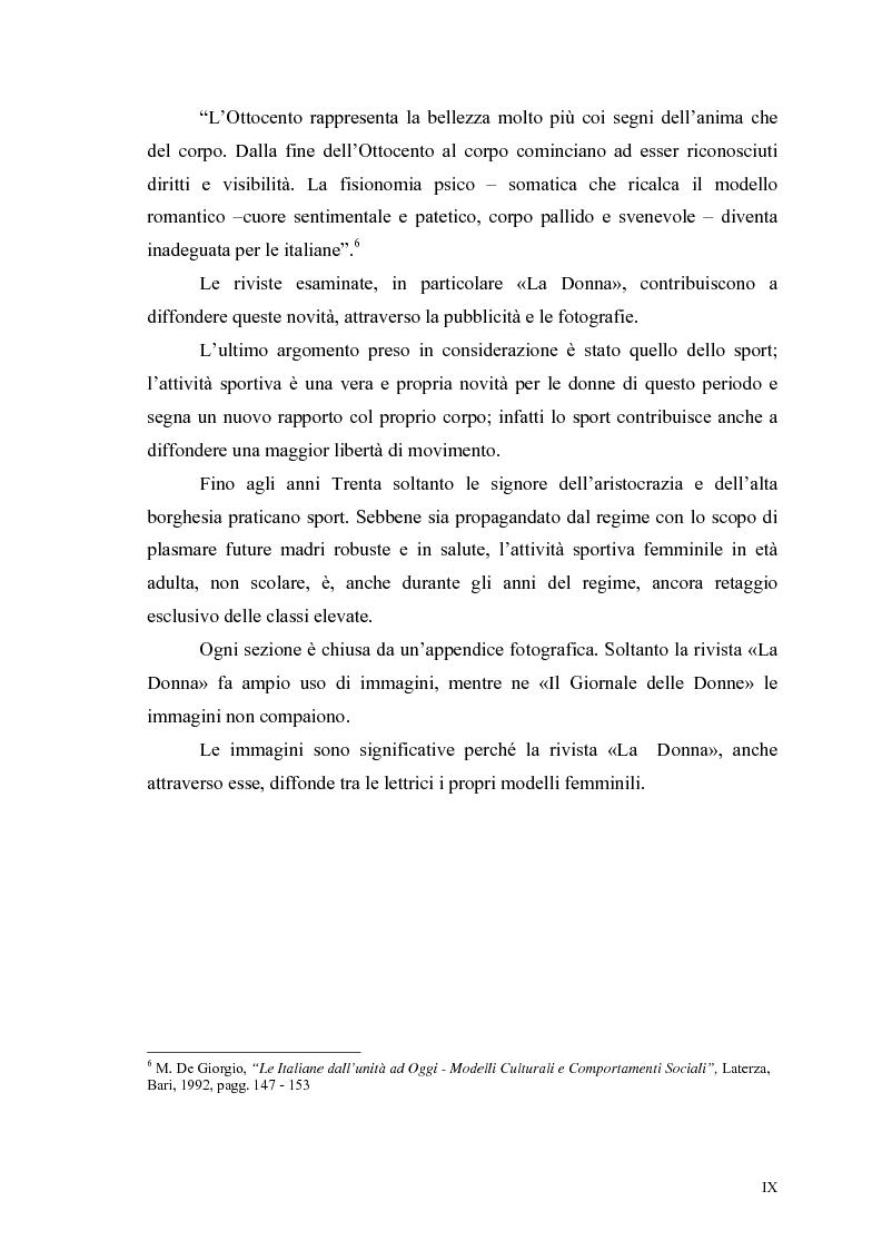 Anteprima della tesi: La figura della donna attraverso l'analisi di due riviste femminili del periodo fascista: Il Giornale delle Donne e La Donna, 1921-1935, Pagina 5