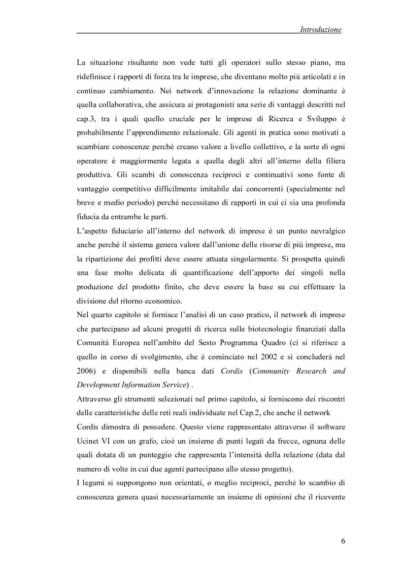 Anteprima della tesi: Applicazione di temi di analisi dei network alle filiere innovative, Pagina 6
