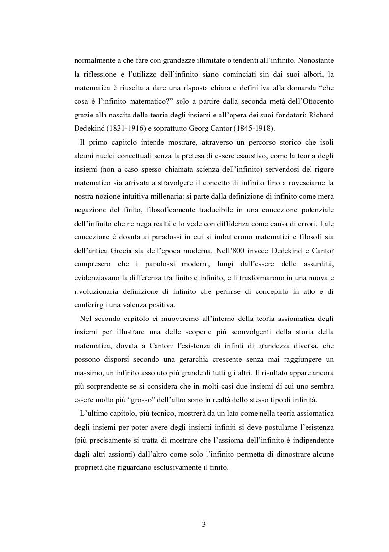 Anteprima della tesi: Il concetto di infinito nella teoria assiomatica degli insiemi, Pagina 2