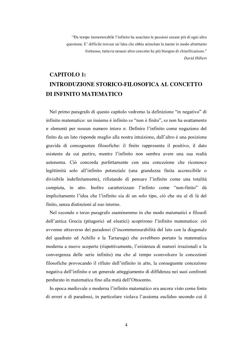 Anteprima della tesi: Il concetto di infinito nella teoria assiomatica degli insiemi, Pagina 3