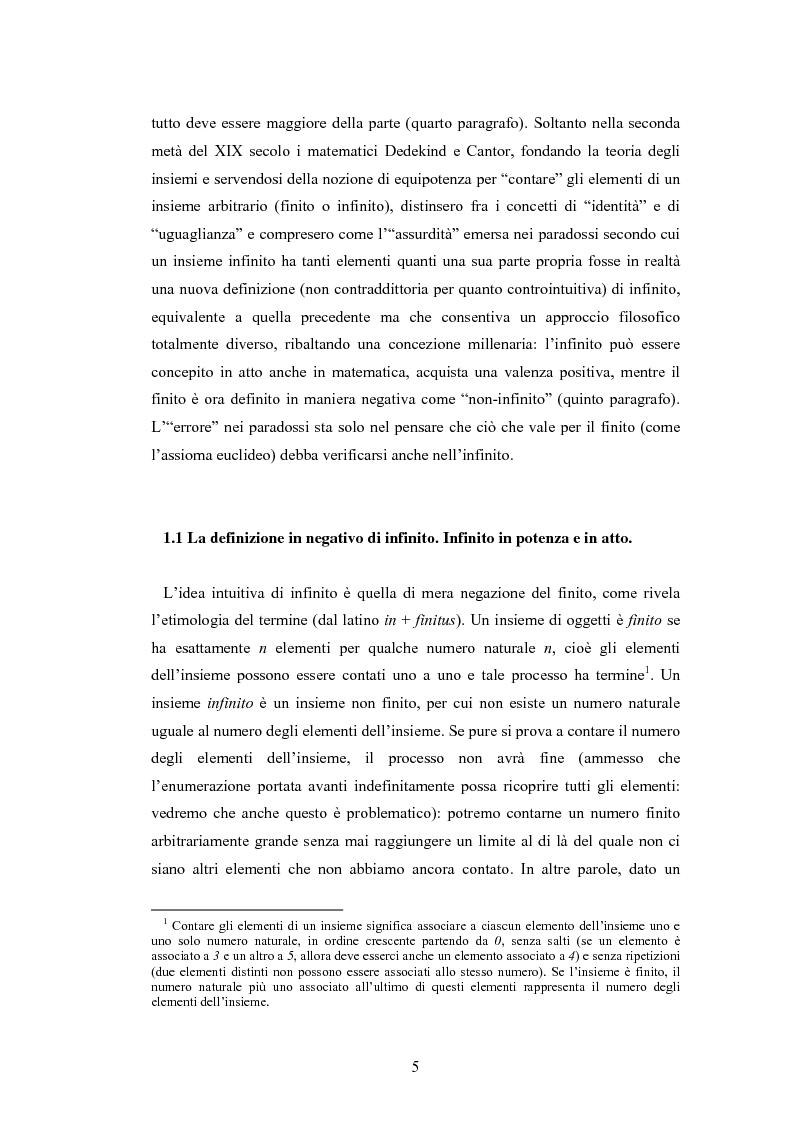 Anteprima della tesi: Il concetto di infinito nella teoria assiomatica degli insiemi, Pagina 4