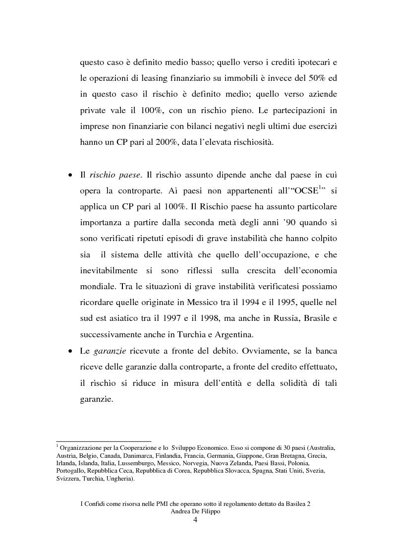 Anteprima della tesi: I confidi come risorsa per le piccole e medie imprese che adottano il regolamento dettato da Basilea 2, Pagina 4