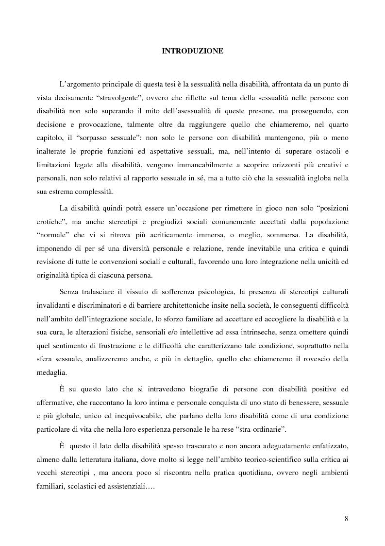 La ''stra-ordinarietà'' sessuale delle persone con disabilità - Tesi di Laurea