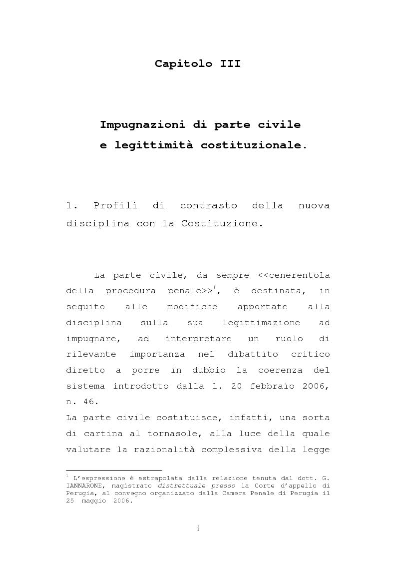 Anteprima della tesi: Le impugnazioni della parte civile dopo la legge 20 febbraio 2006, n. 46, Pagina 1