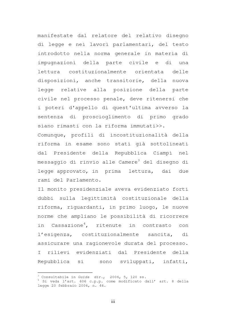 Anteprima della tesi: Le impugnazioni della parte civile dopo la legge 20 febbraio 2006, n. 46, Pagina 3