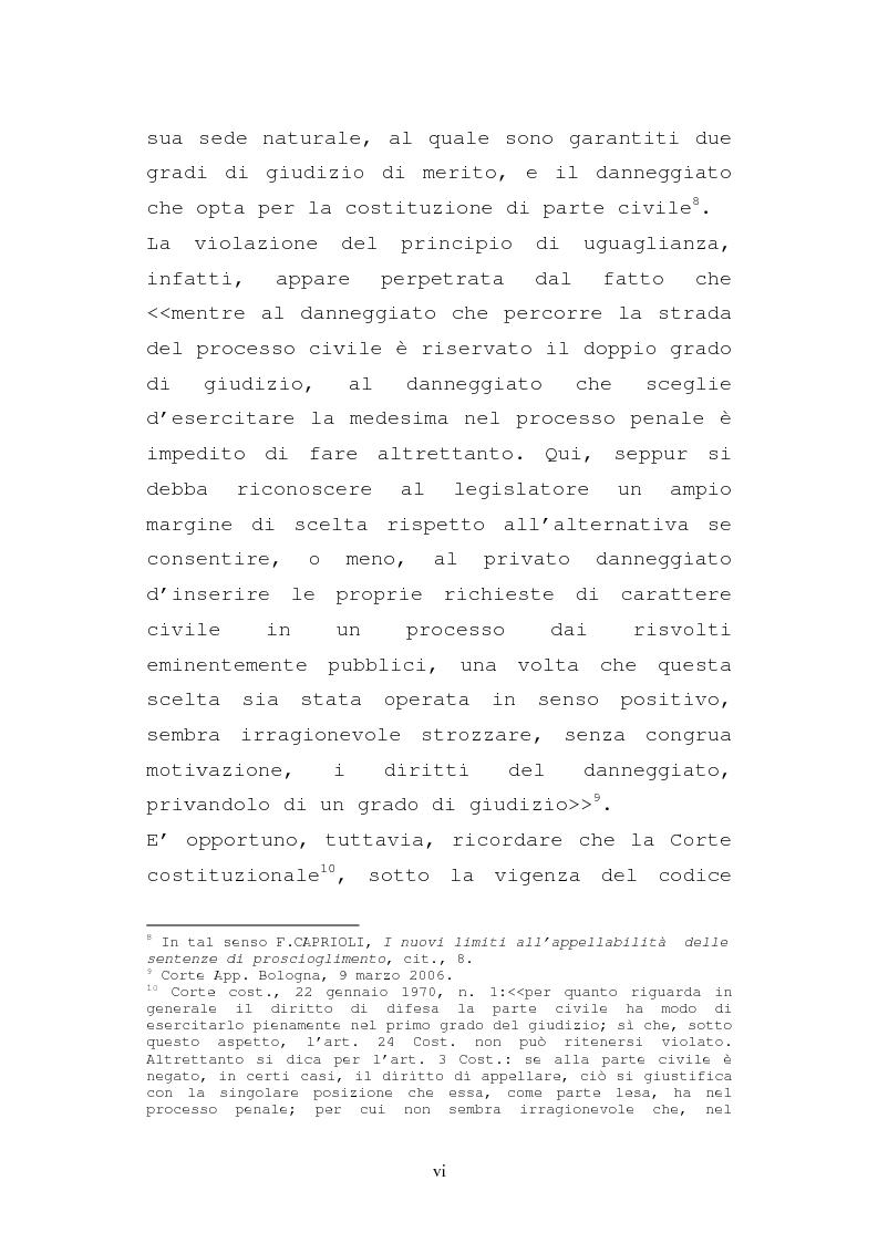 Anteprima della tesi: Le impugnazioni della parte civile dopo la legge 20 febbraio 2006, n. 46, Pagina 6
