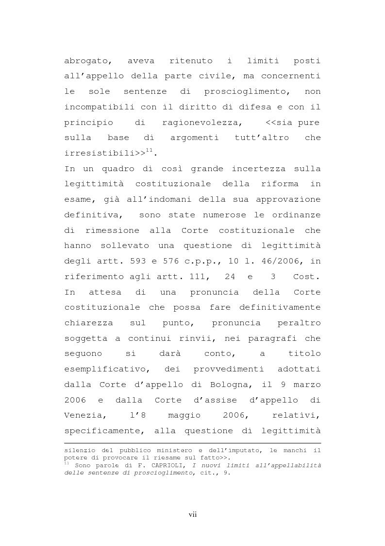 Anteprima della tesi: Le impugnazioni della parte civile dopo la legge 20 febbraio 2006, n. 46, Pagina 7