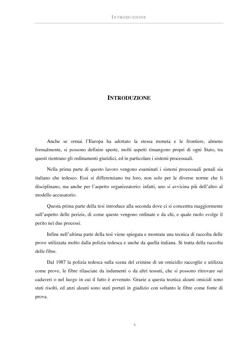 Anteprima della tesi: La perizia nel processo penale tedesco ed italiano. Una prova atipica: le fibre, Pagina 1