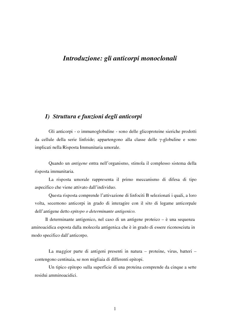 Anteprima della tesi: Produzione di anticorpi monoclonali con scopi diagnostici in ambito veterinario ed alimentare, Pagina 1