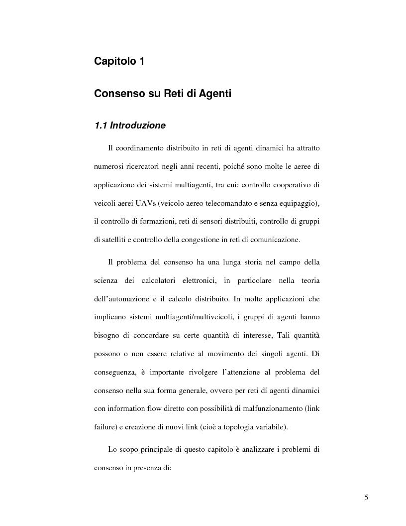 Anteprima della tesi: Strategie di consenso per il filtraggio, la fusione e la stima dei parametri in Reti di Agenti, Pagina 3