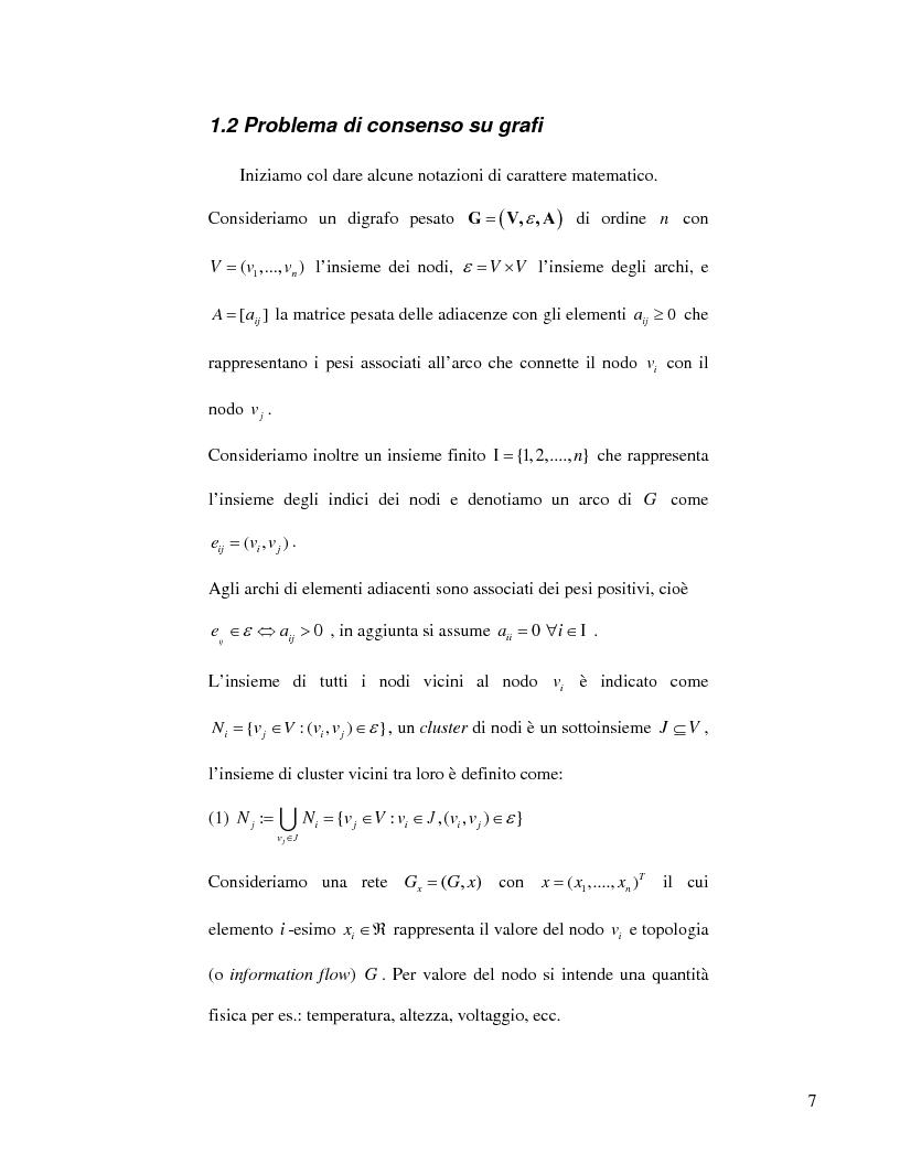 Anteprima della tesi: Strategie di consenso per il filtraggio, la fusione e la stima dei parametri in Reti di Agenti, Pagina 5