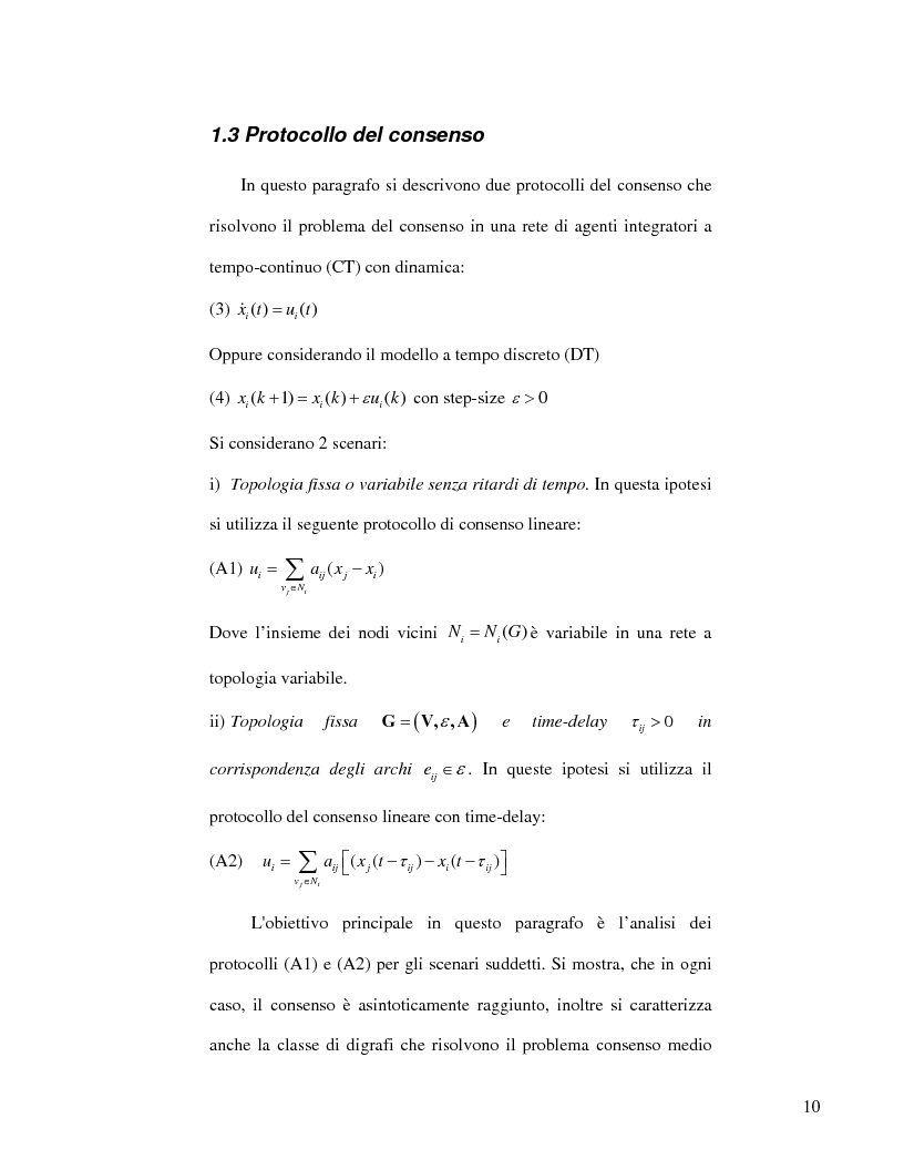Anteprima della tesi: Strategie di consenso per il filtraggio, la fusione e la stima dei parametri in Reti di Agenti, Pagina 8