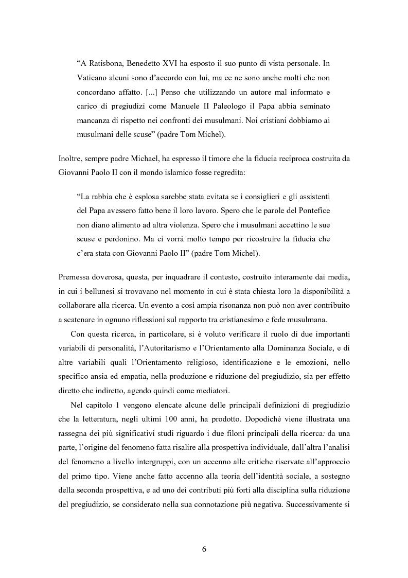 Anteprima della tesi: Fede musulmana e pregiudizio nel bellunese, il ruolo dell'orientamento religioso, delle variabili di personalità e delle emozioni, Pagina 4
