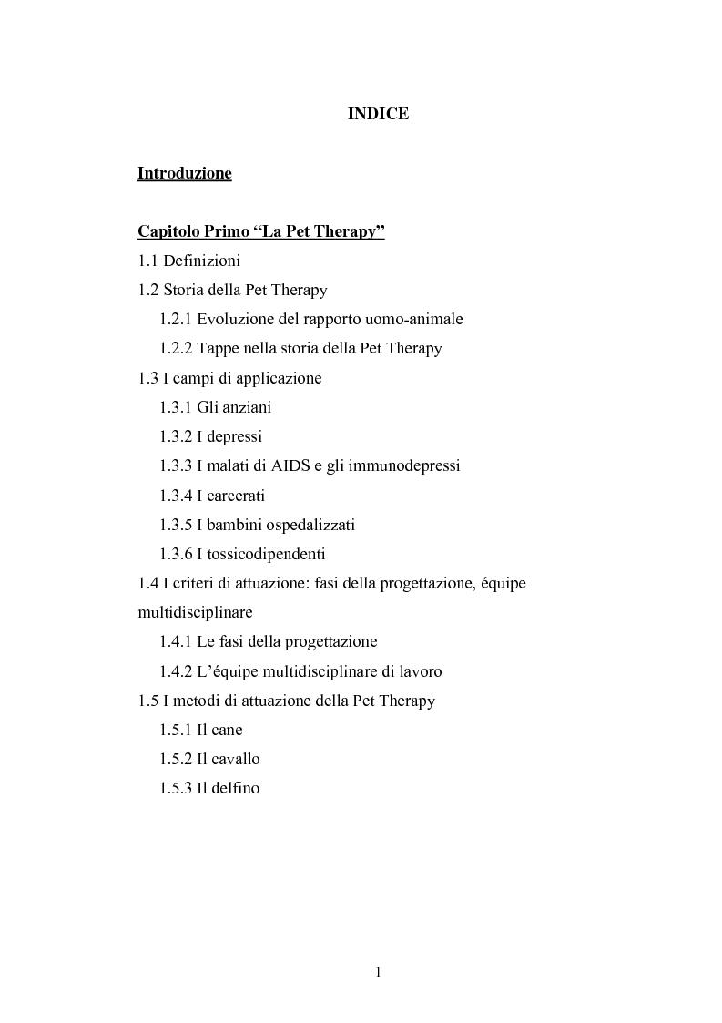 Indice della tesi: Il cane come co-terapeuta nell'autismo, Pagina 1