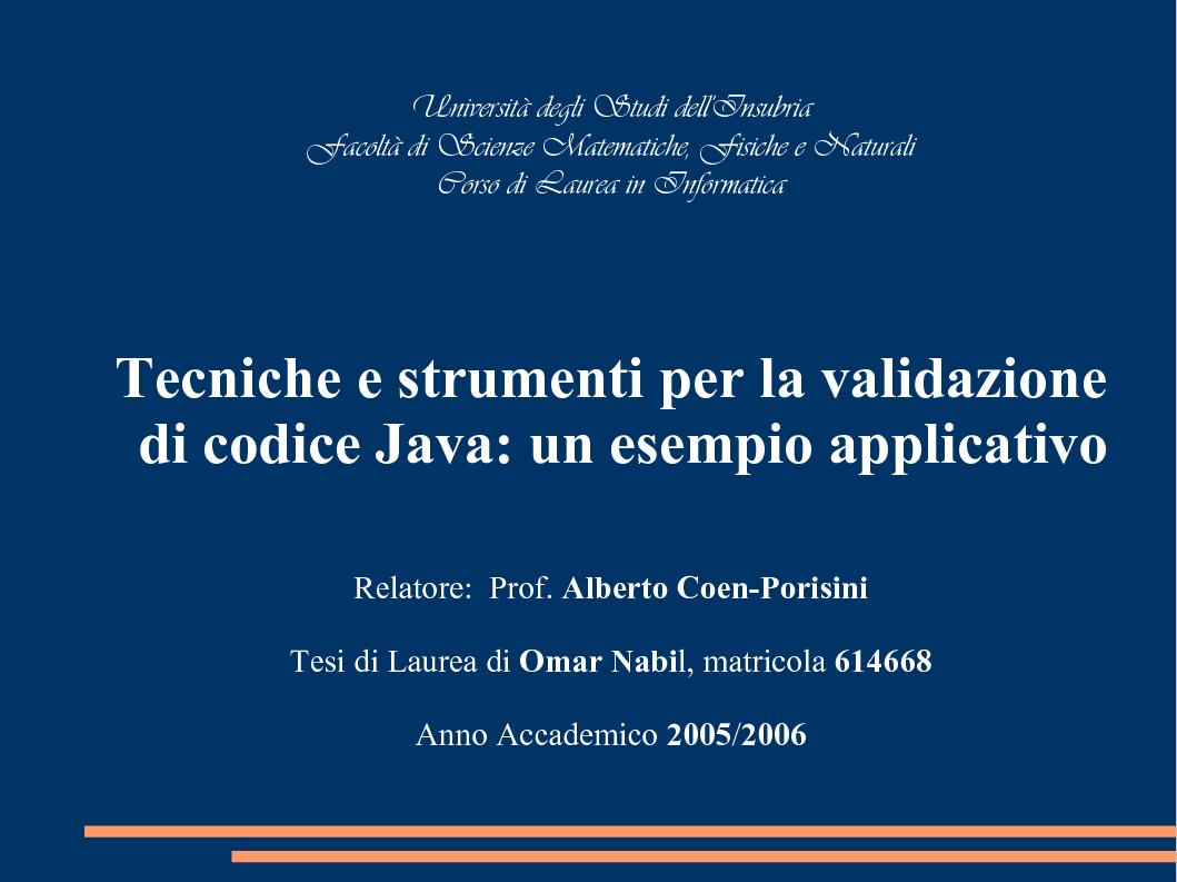 Anteprima della tesi: Tecniche e Strumenti per la Validazione di Codice Java: un Esempio Applicativo, Pagina 1