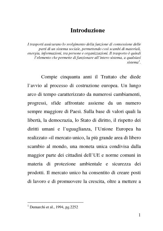 Anteprima della tesi: L'impatto delle politiche europee sulla riorganizzazione delle ferrovie italiane, Pagina 1