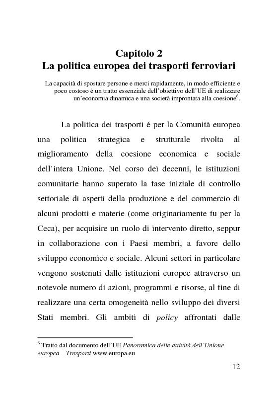Anteprima della tesi: L'impatto delle politiche europee sulla riorganizzazione delle ferrovie italiane, Pagina 12