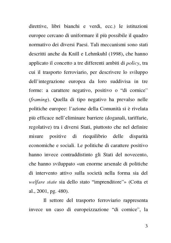 Anteprima della tesi: L'impatto delle politiche europee sulla riorganizzazione delle ferrovie italiane, Pagina 3