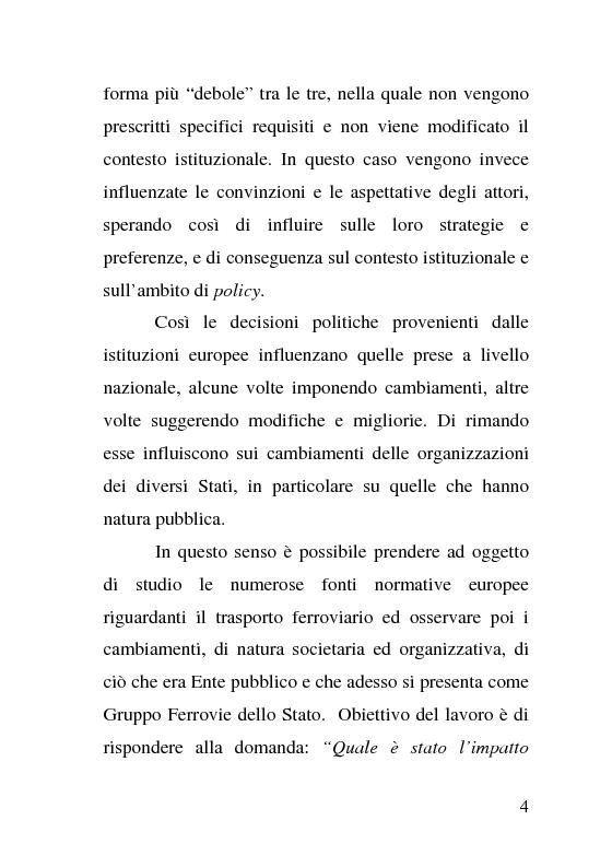 Anteprima della tesi: L'impatto delle politiche europee sulla riorganizzazione delle ferrovie italiane, Pagina 4