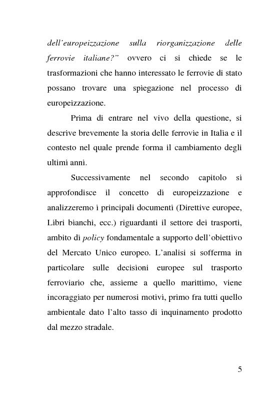 Anteprima della tesi: L'impatto delle politiche europee sulla riorganizzazione delle ferrovie italiane, Pagina 5