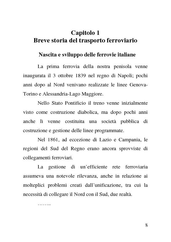 Anteprima della tesi: L'impatto delle politiche europee sulla riorganizzazione delle ferrovie italiane, Pagina 8