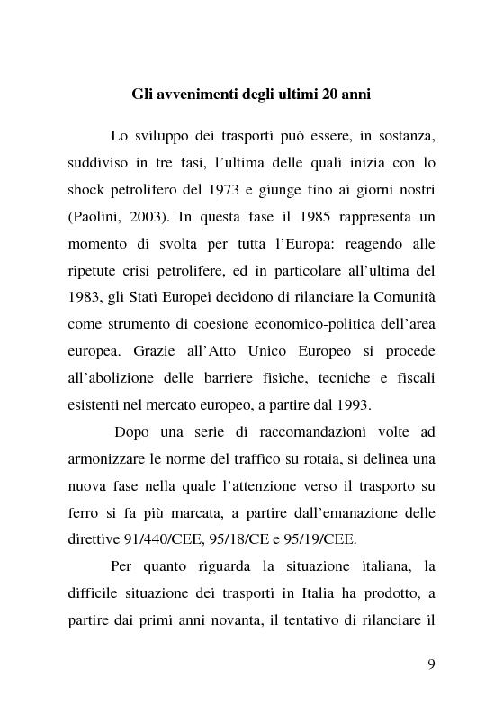 Anteprima della tesi: L'impatto delle politiche europee sulla riorganizzazione delle ferrovie italiane, Pagina 9