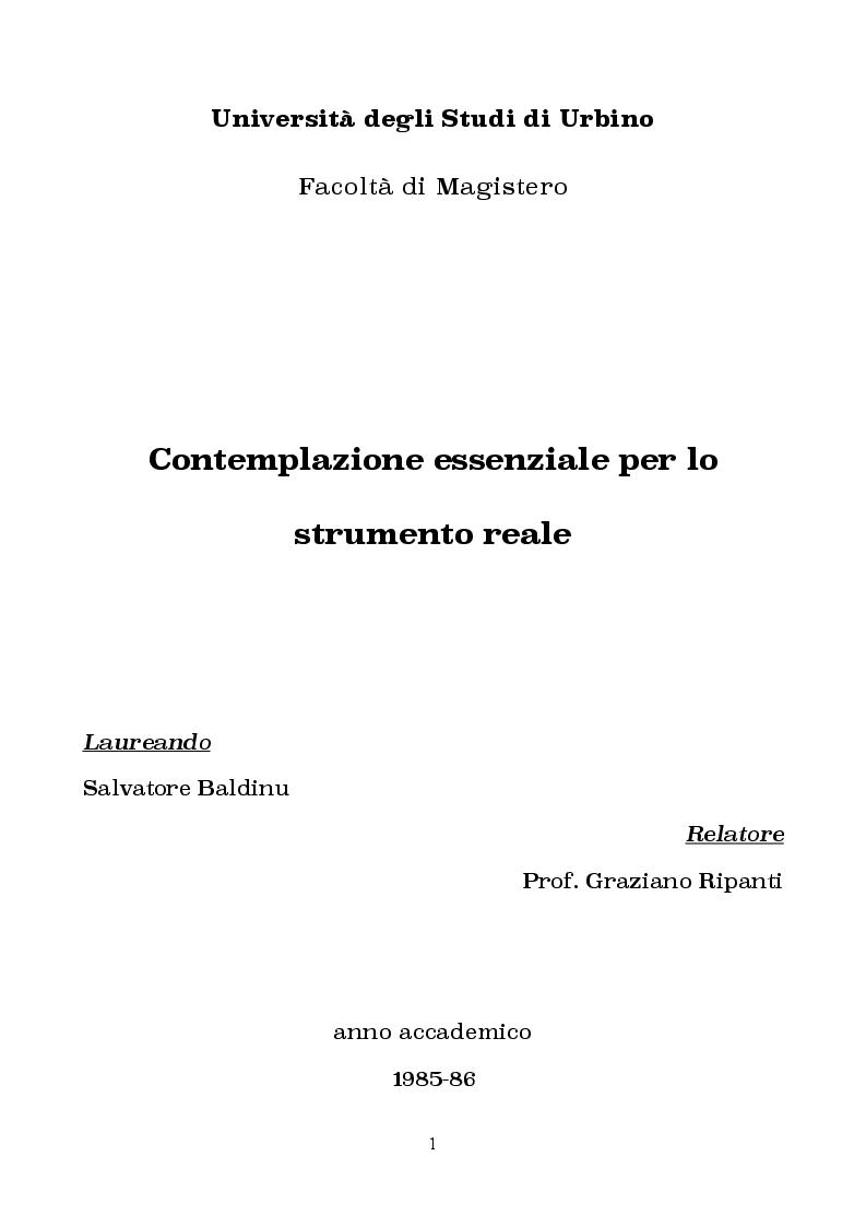 Anteprima della tesi: Contemplazione essenziale per lo strumento reale, Pagina 1