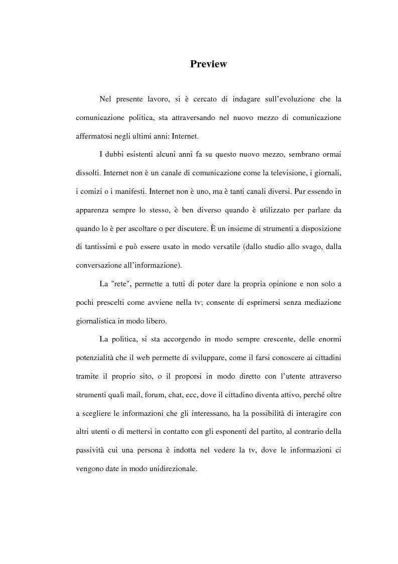 Anteprima della tesi: La comunicazione politica in Internet, Pagina 1