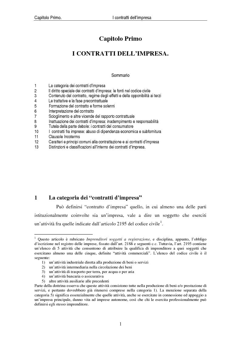 Anteprima della tesi: I contratti delle imprese. Profili giuridici contabili e fiscali., Pagina 3
