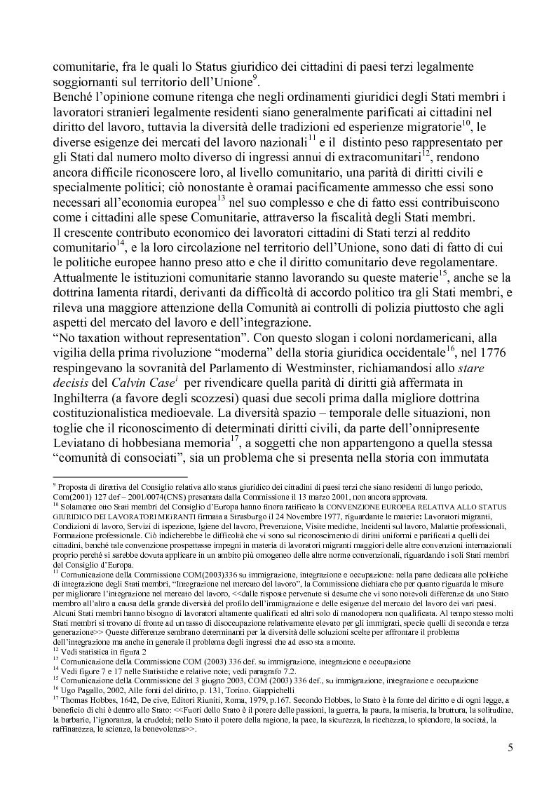 Anteprima della tesi: La politica comunitaria in materia di lavoro degli extracomunitari, Pagina 2