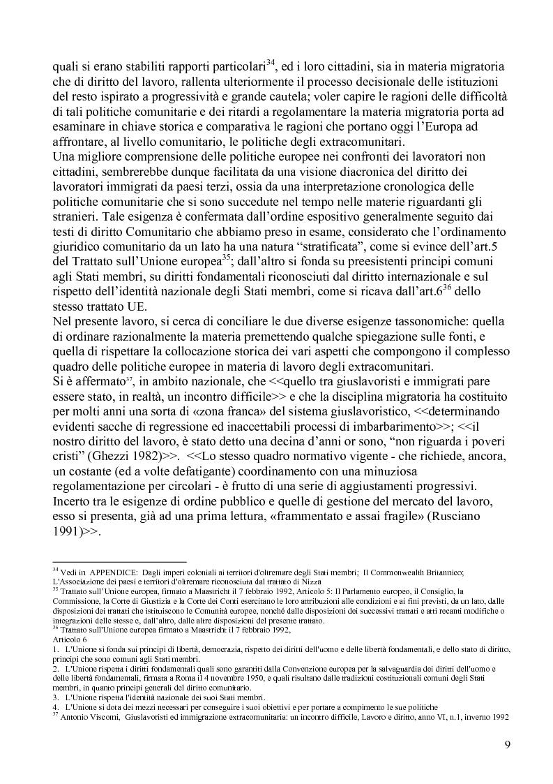 Anteprima della tesi: La politica comunitaria in materia di lavoro degli extracomunitari, Pagina 6